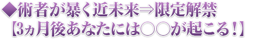 ◆術者が暴く近未来⇒限定解禁【3ヵ月後あなたには○○が起こる!】
