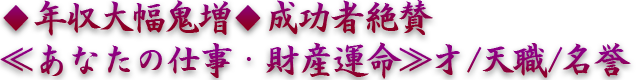 ◆年収大幅鬼増◆成功者絶賛≪あなたの仕事・財産運命≫才/天職/名誉